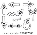 funny doodle arrows characters...