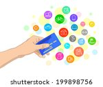 bank card in hand and icons of...   Shutterstock .eps vector #199898756