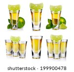 Small photo of Set of gold tequila shot with lime fruits isolated on white background