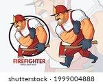 fearless fire fighter cartoon...   Shutterstock .eps vector #1999004888