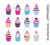 set of 12 cute cupcakes...   Shutterstock .eps vector #199902842