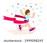 happy winner. runner crossing... | Shutterstock .eps vector #1999098245