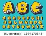 retro 3d alphabet with polka... | Shutterstock .eps vector #1999170845