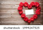 Heart Shape Of Red Roses On...