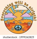 70s groovy retro psychedelic... | Shutterstock .eps vector #1999262825
