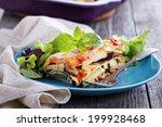 Stock photo vegetable lasagna with zucchini tomato and eggplant 199928468