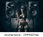 sexy girl in black lingerie and ... | Shutterstock . vector #199930766