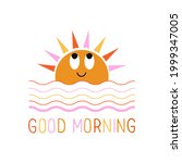 cute sun with waves and the... | Shutterstock .eps vector #1999347005