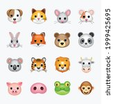 set of animal faces  face...   Shutterstock .eps vector #1999425695