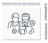 ai in medicine line icon. robot ...   Shutterstock .eps vector #1999446875