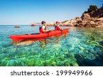 men by sea kayaking. traveling... | Shutterstock . vector #199949966
