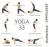 set of 8 yoga poses or asana... | Shutterstock .eps vector #1999513535
