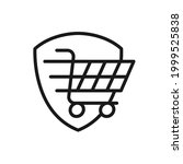 secure shopping icon vector...