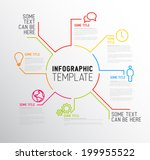 Vector Infographic report template made from lines and icons | Shutterstock vector #199955522