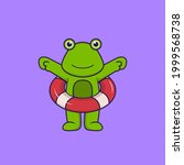 Cute Frog Using A Float. Animal ...