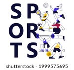 colorful sports banner with...   Shutterstock . vector #1999575695