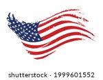 grunge waving american flag... | Shutterstock .eps vector #1999601552