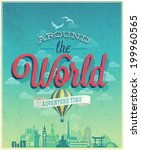 around the world poster. vector ... | Shutterstock .eps vector #199960565