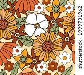 70s retro floral seamless...   Shutterstock .eps vector #1999731962