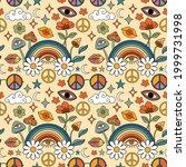70s hippie style psychedelic... | Shutterstock .eps vector #1999731998