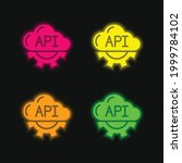 api four color glowing neon...