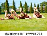 group of happy teenage friends... | Shutterstock . vector #199986095