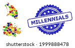 blue rosette scratched seal... | Shutterstock .eps vector #1999888478