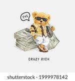 crazy rich slogan with bear... | Shutterstock .eps vector #1999978142