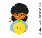young cute funny girl hold... | Shutterstock .eps vector #2000041145