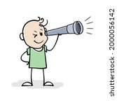 cartoon stick man stand and...   Shutterstock .eps vector #2000056142