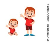 cute little boy say hello with...   Shutterstock .eps vector #2000098058