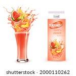 sweet juice splash. whole and...   Shutterstock .eps vector #2000110262