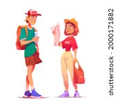 tourists backpackers learning...   Shutterstock .eps vector #2000171882