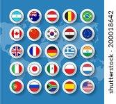 vector flag buttons in flat...   Shutterstock .eps vector #200018642
