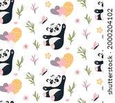 panda seamless pattern. cute...   Shutterstock .eps vector #2000204102