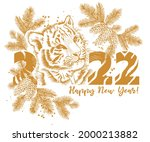 tiger new year card 2022 ... | Shutterstock .eps vector #2000213882