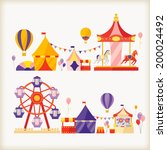 carousels and ferris wheel  | Shutterstock .eps vector #200024492