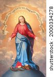 Small photo of VIENNA, AUSTIRA - JUNI 24, 2021: The painting Immaculate Conception in the church Pavlanerkirche by Leopold Kupelwieser from 19. cet.