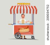 hot dog cart with seller  ... | Shutterstock .eps vector #200034752
