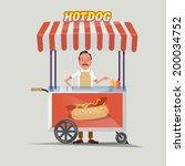 hot dog cart with seller  ... | Shutterstock .eps vector #200034752