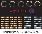 set of glass gold buttons and... | Shutterstock .eps vector #2000368928