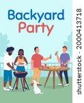 backyard party poster flat...   Shutterstock .eps vector #2000413718