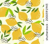 a pattern with lemons and... | Shutterstock .eps vector #2000591945