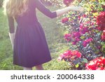 Stock photo young woman walking near blooming rose bushes 200064338