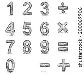Vector Set of Sketch Figures. 1, 2, 3, 4, 5, 6, 7, 8, 9, 0. Mathematical sings - addition, subtraction, division, multiplication, equality.