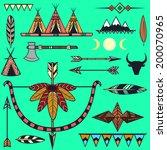 set of ethnic american indian's ... | Shutterstock .eps vector #200070965