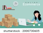 online ecommerce a woman is... | Shutterstock .eps vector #2000730605