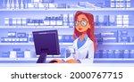 pharmacist at counter in... | Shutterstock .eps vector #2000767715