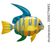 tropical yellow blue fish ... | Shutterstock .eps vector #2000779892