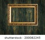 gold frame on a wooden...   Shutterstock . vector #200082245